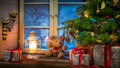Christmas rural cottage in frosty evening retro style Stock Images