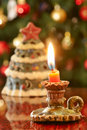 Christmas rustic small candle Stock Photography