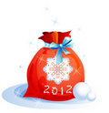 Christmas sack with blue ribbon Royalty Free Stock Image