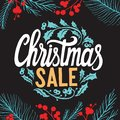 Christmas sale background with holiday decorations on a chalkboard vector illustration banner for xmas special promotion. Design Royalty Free Stock Photo