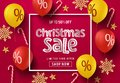 Christmas sale balloon vector banner background. Christmas sale text in frame with colorful elements. Royalty Free Stock Photo