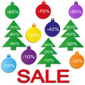 Christmas sale balls with christmas trees cut the paper vector Stock Image