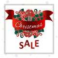 Christmas sale banner. Christmass balls on a white snowflakes background. Social media ready