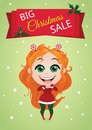 Christmas sale banner vector with an enthusiastic girl Royalty Free Stock Photo