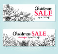 Christmas sale banner. Vector hand drawn illustration. Xmas plants and symbols.