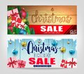 Christmas Sale Banners Set with Different Designs and Wooden Background