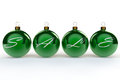 Christmas sale baubles the words spelt accross four green Royalty Free Stock Photo