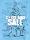Christmas sale blue background discount sales Royalty Free Stock Photos