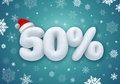 Christmas sale d snow discount label with text Stock Image
