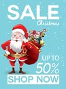 Christmas sale discount offer. Cartoon Santa Claus with huge red bag with presents in snow scene for New Year promotion banners,