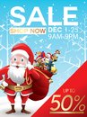 Christmas sale discount offer. Cartoon Santa Claus with huge red bag with presents in snow scene for New Year promotion banners, h