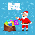 Christmas sale. Flat funny old man character holding Xmas shopping bag on blue background. Discount banner or poster Royalty Free Stock Photo