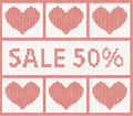 Christmas sale knitted pattern with hearts scandinavian style Royalty Free Stock Photo