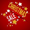 Christmas sale on red background illustration Stock Photos