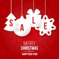 Christmas sale on red background vector illustration Stock Photo