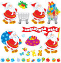 Christmas sale santa claus with a shopping trolley gift bag flag and toys Royalty Free Stock Images