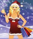 Christmas sale. santa woman with  bags Royalty Free Stock Photo