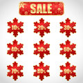 Christmas sale stickers and tags with discounts Royalty Free Stock Image