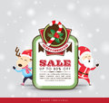 Christmas sale tag with santa claus reindeer Stock Photo