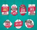 Christmas sale tags vector set with origami paper cut style, price tags shapes Royalty Free Stock Photo