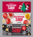 Christmas sale vector banner set. Christmas sale text with xmas elements of gift, snowman, tree, candy cane, balloons, snowflakes. Royalty Free Stock Photo