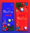 Christmas sale vector banner set with sale discount hand lettering text and colorful christmas elements in red and blue Royalty Free Stock Photo
