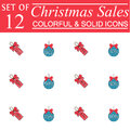 Christmas sales and balls with ribbons color icons