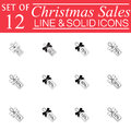 Christmas sales with ribbons Line icons