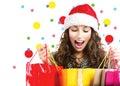Christmas sales. Surprised woman