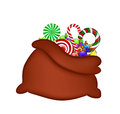 Christmas santa bag sack with candies vector illustration isolated on white background Stock Photos
