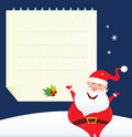 Christmas Santa with blank note Stock Photos