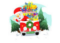 Christmas santa in the car Royalty Free Stock Image