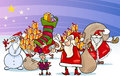 Christmas santa claus cartoon group illustration of with presents and snowman and other characters Stock Photo