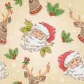 Christmas santa claus and deer characters seamless pattern on winter snowflakes background Royalty Free Stock Photo