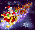 Christmas santa claus flying sleigh with gifts illustration of in his sled or night background Royalty Free Stock Image