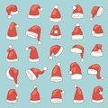 Christmas Santa Claus hat vector noel isolated illustration New Year Christians Xmas party design decoration hats Royalty Free Stock Photo