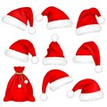 Christmas Santa Claus Hats With Fur Set, Bag, Sack. New Year Red Hat Isolated on White Background. Winter Cap. Vector Royalty Free Stock Photo