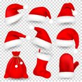 Christmas Santa Claus Hats With Fur Set, Mitten, Bag, Sock. New Year Red Hat Isolated on White Background. Winter Cap Royalty Free Stock Photo