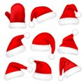 Christmas Santa Claus Hats With Fur Set, Mitten. New Year Red Hat Isolated on White Background. Winter Cap. Vector Royalty Free Stock Photo