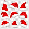 Christmas Santa Claus Hats With Fur Set, Sock. Xmas, New Year Red Hat With Shadow. Winter Cap. Vector illustration. Royalty Free Stock Photo