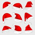 Christmas Santa Claus Hats Set. New Year Red Hat Isolated on Transparent Background. Vector illustration. Royalty Free Stock Photo