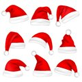 Christmas Santa Claus Hats Set. New Year Red Hat Isolated on White Background. Vector illustration. Royalty Free Stock Photo