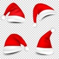 Christmas Santa Claus Hats With Shadow Set. New Year Red Hat Isolated on Transparent Background. Vector illustration. Royalty Free Stock Photo