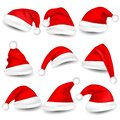 Christmas Santa Claus Hats With Shadow Set. New Year Red Hat Isolated on White Background. Vector illustration Royalty Free Stock Photo