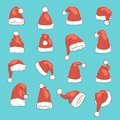 Christmas Santa Claus red hat vector noel illustration New Year Christians Xmas party design decoration hats Royalty Free Stock Photo