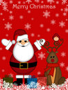 Christmas Santa Claus and Red-Nosed Reindeer Stock Image