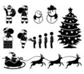 Christmas Santa Claus Reindeer Pictogram Royalty Free Stock Photography