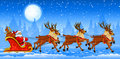 Christmas Santa Claus riding on sleigh Stock Image