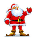 Christmas santa claus stand with lift hand Royalty Free Stock Images