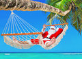 Christmas Santa Claus sunbathing in hammock at tropical palm bea Royalty Free Stock Photo